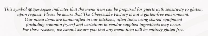 Cheesecake Factory Gluten Free Menu